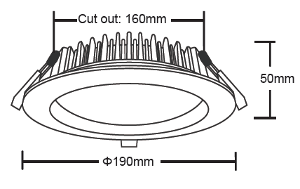 20 Watt LED Downlight Dimensions