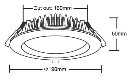 20 Watt LED Downlight Dimensions