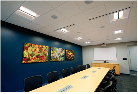 LED Integrated Linear Troffer Lights in Office Boardroom