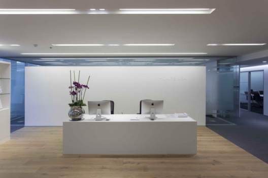 LED Integrated Linear Troffer Lights in Office Reception