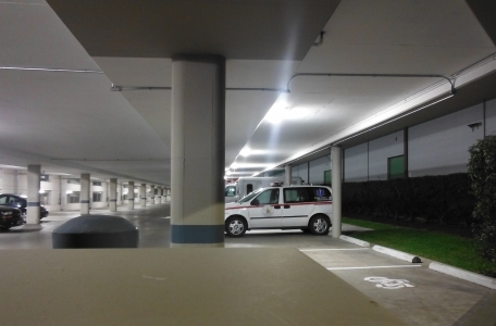 LED Weatherproof Batten Lights in Carpark