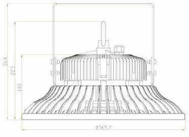 100 Watt LED UFO High Bay Light - Diagram