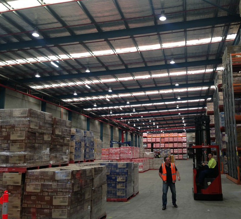 Snackbrands Smithfield warehouse LED lighting high bays