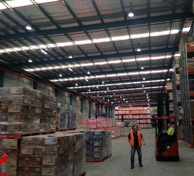 Snackbrands Smithfield warehouse LED lighting high bays