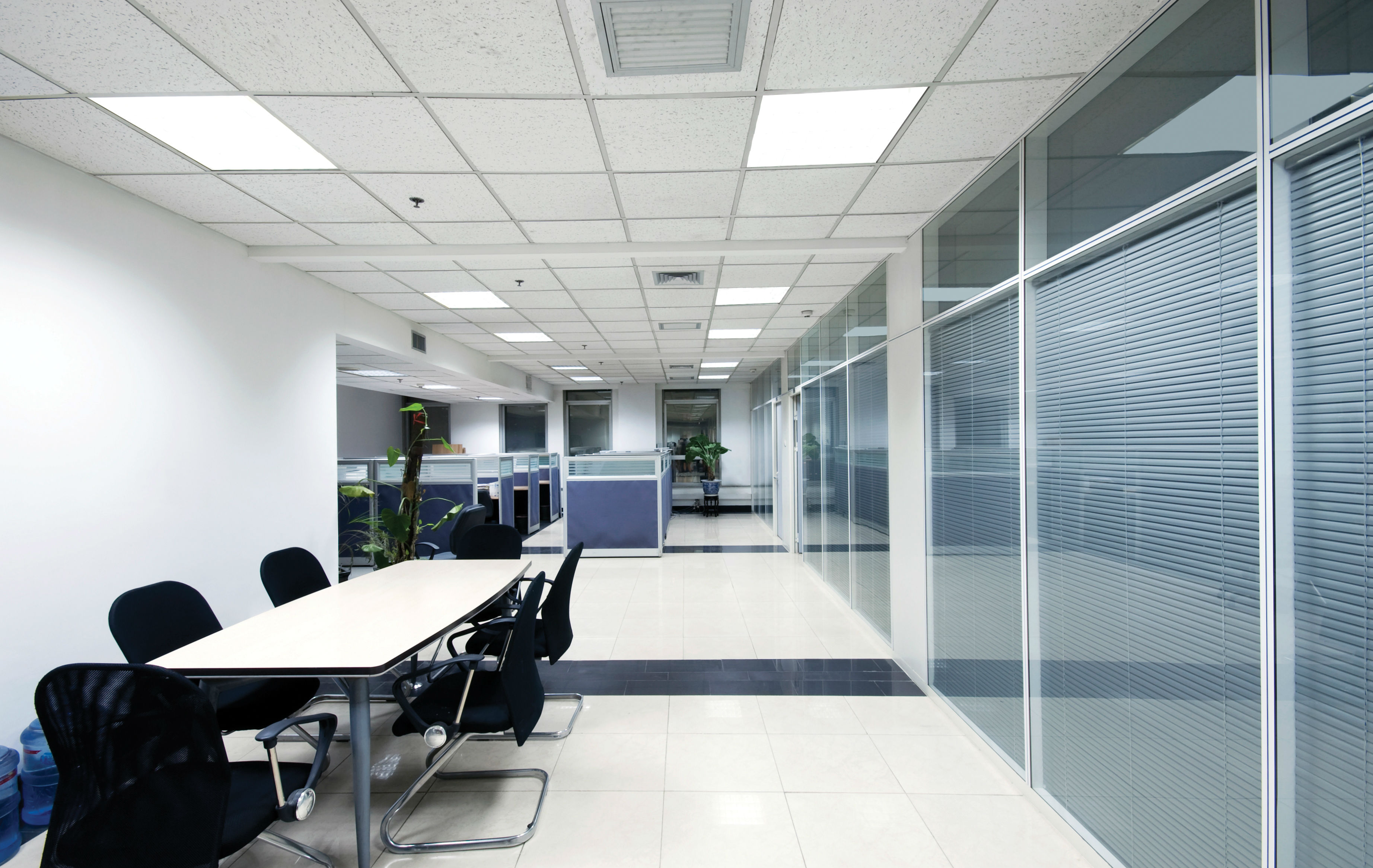 LED Ceiling Panel Light in Office Area