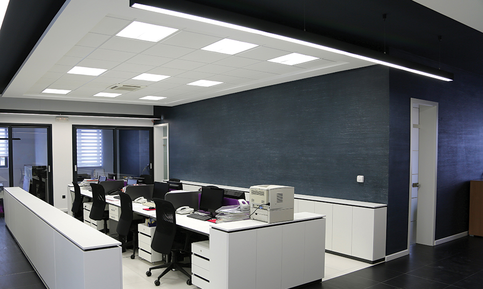 LED Panel Ceiling Lights in Open Office